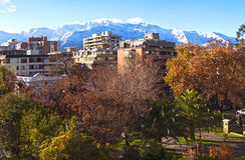 Mattina di inverno di Santiago de Chile Fotografie Stock Libere da Diritti