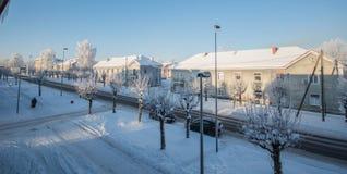 Mattina di inverno, freddo di congelamento Fotografia Stock