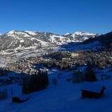Mattina di inverno a Gstaad Fotografie Stock