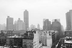 Mattina di Snowy da un tetto in NYC Fotografia Stock Libera da Diritti