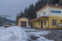 Mattina fredda di inverno nella stazione di Lipno nad Vltavou Fotografia Stock Libera da Diritti