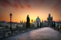 Mattina luminosa a Praga, la repubblica Ceca Fotografie Stock Libere da Diritti