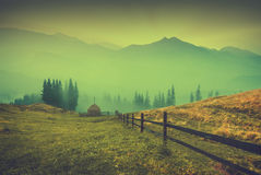 Mattina in montagne nebbiose annata Fotografia Stock Libera da Diritti