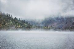 Mattina nebbiosa Abbassi il lago Multinskoe Terra di autunno di Altai della montagna Fotografia Stock