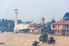 Mattina nebbiosa al canale di Suez immagini stock libere da diritti