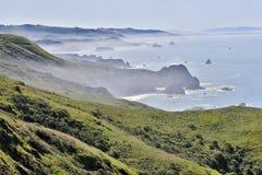 Mattina nebbiosa alla baia del Bodega, costa del Pacifico della contea di Sonoma, California Immagine Stock