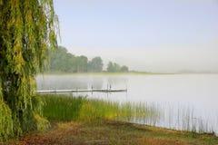 Mattina nebbiosa del lago Fotografia Stock Libera da Diritti