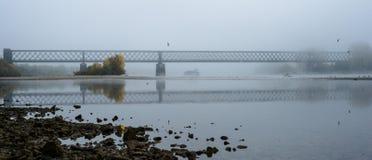 Mattina nebbiosa di autunno in Germania sul fiume il Reno, uno scorrimento barge dentro la distanza un vecchio ponte ferroviario immagine stock libera da diritti