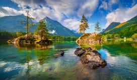 Mattina nebbiosa di estate sul lago Hintersee in alpi austriache Fotografie Stock
