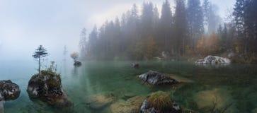 Mattina nebbiosa di estate sul lago Hintersee in alpi austriache Fotografia Stock Libera da Diritti