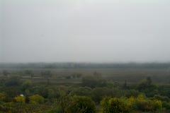 Mattina nebbiosa, il fiume Oka Immagini Stock Libere da Diritti