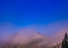 Mattina nebbiosa nelle alpi austriache Fotografie Stock