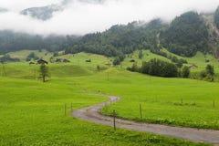 Mattina nebbiosa nelle alpi svizzere Fotografie Stock