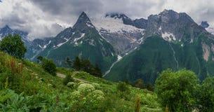 Mattina nebbiosa nelle montagne Fotografia Stock