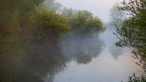 Mattina nebbiosa sopra il fiume fotografie stock