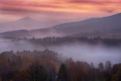 Mattina nebbiosa sopra la Svizzera della Boemia Fotografia Stock