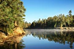 Mattina nel lago canyon di legni Fotografia Stock