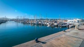 Mattina nel porto della st Antoni de Portmany, città di Ibiza, Isole Baleari, Spagna Fotografia Stock