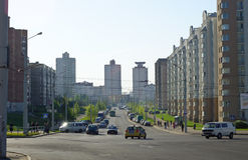 Mattina nella città, Minsk, Bielorussia Immagine Stock