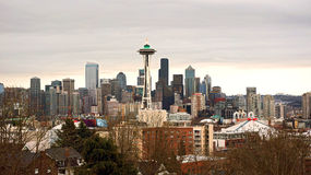Mattina nuvolosa a Seattle immagine stock