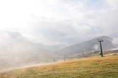 Mattina nuvolosa sulla cima della montagna di Seceda Fotografia Stock Libera da Diritti
