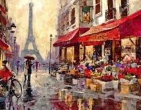 Mattina piovosa a Parigi Schizzi della città Acquerello bagnato di verniciatura su carta Arte ingenuo Acquerello del disegno su c illustrazione di stock