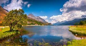 Mattina soleggiata di estate sul lago Hintersee Fotografia Stock Libera da Diritti