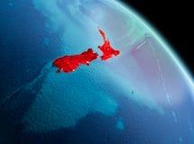 Mattina sopra la Nuova Zelanda su terra Immagini Stock