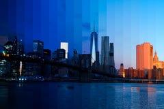 Mattina sopra Manhattan Collage fantastico Immagini Stock