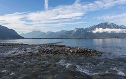Mattina sul lago Lemano Fotografia Stock Libera da Diritti