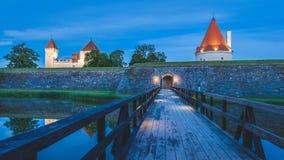 Mattina sul ponte al castello Immagine Stock