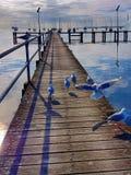 Mattina sulla spiaggia e sugli uccelli che volano intorno immagine stock