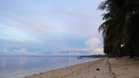 Mattina tranquilla dopo una tempesta di notte alla spiaggia tropicale video d archivio