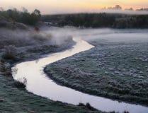 Mattina un'alba pittoresca di autunno Autumn River Fotografia Stock Libera da Diritti