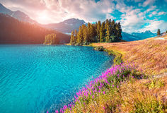 Mattina variopinta di estate sul lago Champferersee Fotografie Stock