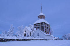 Mattmar medieval church vinter evening Stock Image