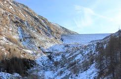 Mattmark水坝 Saas谷,瓦雷兹,阿尔卑斯,瑞士 免版税库存图片