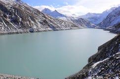Mattmark fördämning Saas dal, Valais, fjällängarna, Schweiz Fotografering för Bildbyråer