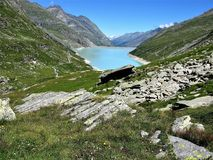 Mattmark Reservoir, Saas Valley, Switzerland Stock Image
