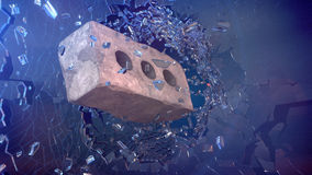 Mattone con vetro rotto Fotografie Stock