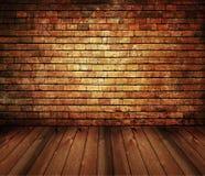 Mattone interno dell'annata della casa rustica, struttura di legno Fotografia Stock