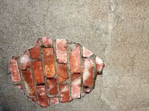 Mattone rosso & gesso indossato Fotografia Stock