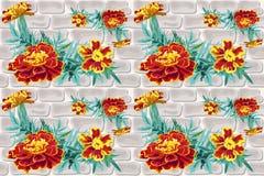 Mattone senza cuciture del tagete del fiore royalty illustrazione gratis