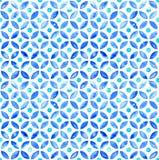 Mattonelle circlular dell'acquerello marocchino senza cuciture - marina e acqua royalty illustrazione gratis