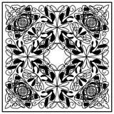 Mattonelle d'annata in bianco e nero con anche l'ornamento distribuito geometrico Fotografia Stock Libera da Diritti