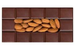 Mattonelle del cioccolato, riempite di mandorle Immagine Stock