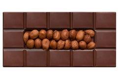 Mattonelle del cioccolato, riempite di nocciole Immagine Stock Libera da Diritti