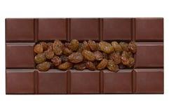 Mattonelle del cioccolato, riempite di uva passa Fotografia Stock