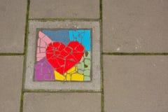 Mattonelle del mosaique del cuore Fotografia Stock Libera da Diritti