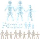 Mattonelle della popolazione di parola di fila della gente della famiglia Immagine Stock
